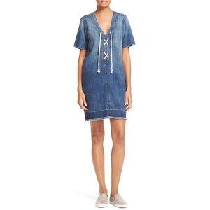 Current/Elliot Denim Lace Up V-Neck Dress